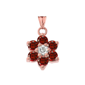 Dainty Milgrain Flower Personalized Birthstone  Pendant Necklace In Rose Gold