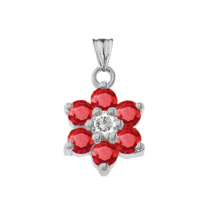 Dainty Milgrain Flower Personalized Birthstone  Pendant Necklace In White Gold