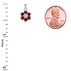 Dainty Milgrain Flower Personalized Birthstone  Pendant Necklace In Sterling Silver