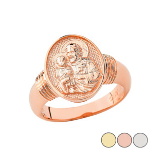 Saint Joseph Oval Ring In Solid Gold (Yellow/Rose/White)