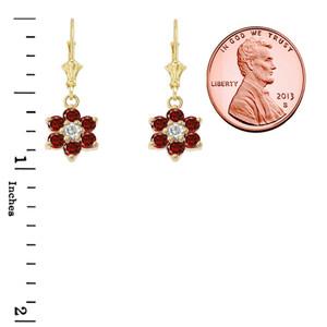 Dainty Milgrain Flower Personalized Birthstone Earring In 10K Gold