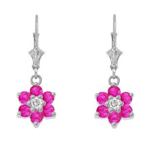 Dainty Milgrain Flower Personalized Birthstone Earring In Sterling Silver