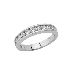Men's Wedding Band Ring With CZ In Sterling Silver