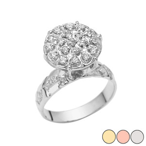 Popcorn Nugget 13.60mm Solitaire Ring in 10k Gold (Yellow/Rose/White)