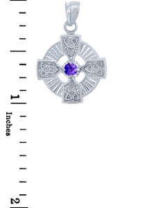 Silver Celtic Trinity Pendant with Alexandrite CZ Stone