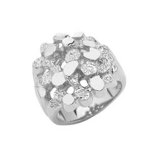 Bold Open Nugget Ring in Sterling Silver