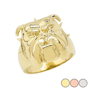 Angry Bulldog Face Ring in Gold (Yellow/Rose/White)
