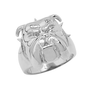 Angry Bulldog Face Ring in Sterling Silver