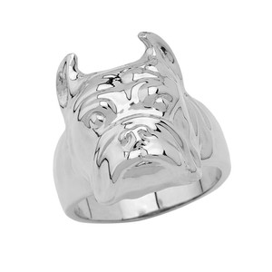 Bulldog Face Ring in Sterling Silver