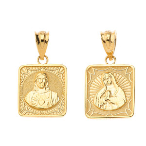 Reversible Virgin Mary and Jesus Christ Square Pendant Necklace in Solid Gold (Yellow/Rose/White)