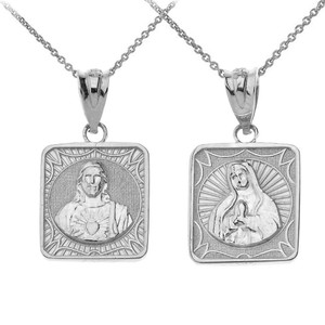 Reversible Virgin Mary and Jesus Christ Square Pendant Necklace in Sterling Silver