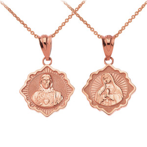 Reversible Virgin Mary and Jesus Christ Pendant Necklace in Solid Gold (Yellow/Rose/White)