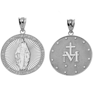 Our Lady of Graces Miraculous Medal Pendant Necklace in Sterling Silver
