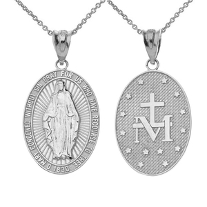 Our Lady of Graces Miraculous Medal Oval Pendant Necklace in Sterling Silver