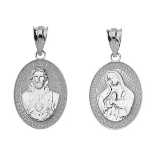 Reversible Virgin Mary and Jesus Christ Oval Pendant Necklace in Sterling Silver