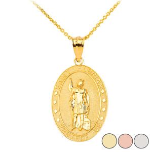 Saint Florian Oval Medallion Pendant Necklace in Solid Gold (Yellow/Rose/White)