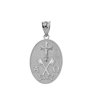 Jesus Christ Alpha and Omega Keys of Heaven Oval Pendant Necklace in Solid Gold (Yellow/Rose/White)