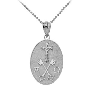 Jesus Christ Alpha and Omega Keys of Heaven Oval Pendant Necklace in Sterling Silver