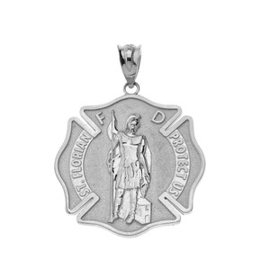 Saint Florian Firefighter Pendant Necklace in Sterling Silver