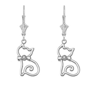 Openwork Diamond Cat Leverback Earring In 14k (Rose/White) Gold