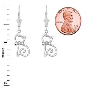 Openwork Diamond Cat Leverback Earring In Sterling Silver