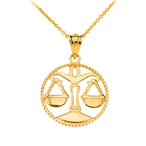 12 Astrological Zodiac Signs Rope Pendant Necklace in Solid Yellow Gold
