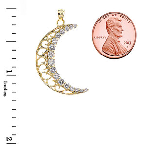 Filigree Crescent Moon With CZ Pendant Necklace in Gold (Yellow/Rose/White)