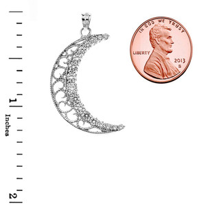 Filigree Crescent Moon With CZ Pendant Necklace in Sterling Silver