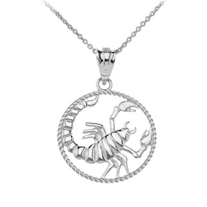 12 Astrological Zodiac Signs Rope Pendant Necklace in Solid White Gold