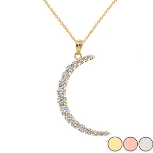 Crescent Moon With CZ Pendant Necklace in Gold (Yellow/Rose/White)