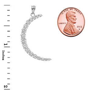 Crescent Moon With CZ Pendant Necklace in Sterling Silver