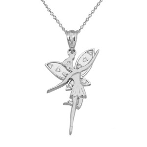 Diamond Angel Fairy Pendant Necklace In Gold (Yellow/Rose/White)