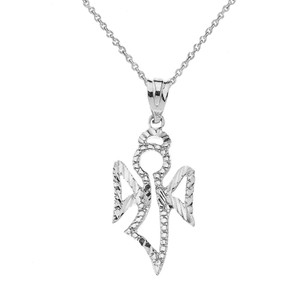 Sparkle Cut Angel Pendant Necklace In Sterling Silver