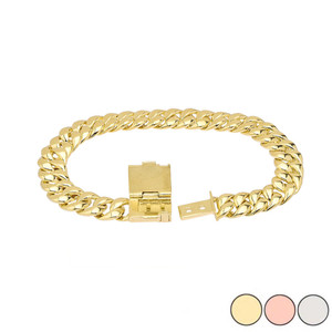 Cuban Link Bracelet 9mm In Gold (Yellow/Rose/White)