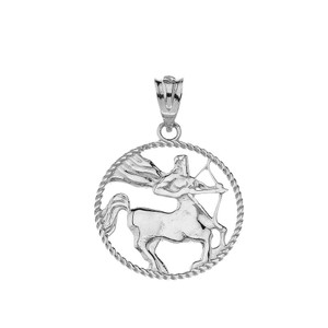 12 Astrological Zodiac Signs Rope Pendant Necklace in Sterling Silver