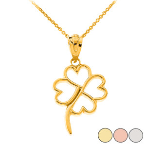 Dainty Openwork Lucky 4-Leaf Clover Pendant Necklace in Solid Gold (Yellow/Rose/White)