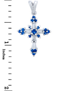 Silver Cross Pendant with Blue CZ Stones