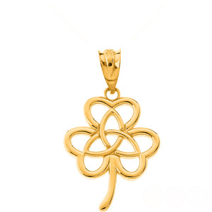 Celtic Triquetra Trinity Knot Flower Pendant Necklace in Solid Gold (Yellow/Rose/White)