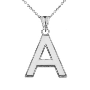 Personalized Sterling Silver Milgrain Initial Pendant Necklace