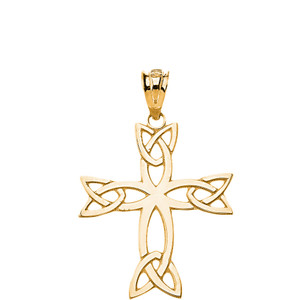 Celtic Trinity Cross Pendant Necklace in Solid Gold (Yellow/Rose/White)