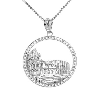 Historic Rome Colosseum Pendant Necklace in Sterling Silver