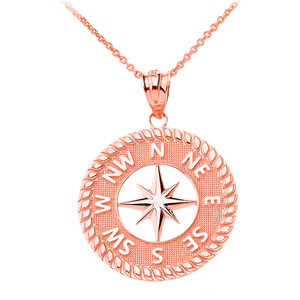 Navigation Compass Pendant Necklace in Solid Gold (Yellow/Rose/White)