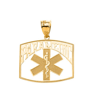 Paramedic Medical Specialist Pendant Necklace in Solid Gold (Yellow/Rose/White)