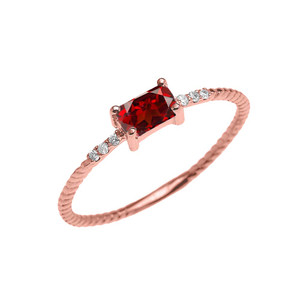 Dainty Solitaire Emerald Cut Garnet and Diamond Rope Design Engagement/Promise Ring in Gold (Yellow/Rose/White)