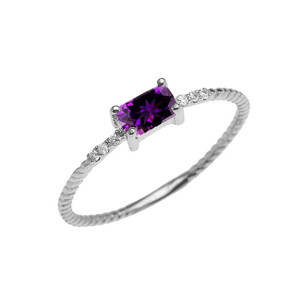 Dainty Solitaire Emerald Cut Amethyst and Diamond Rope Design Engagement/Promise Ring in Gold (Yellow/Rose/White)
