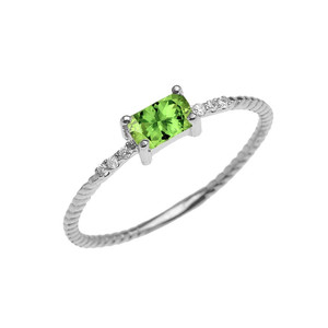 Dainty Solitaire Emerald Cut Peridot and Diamond Rope Design Engagement/Promise Ring in Gold (Yellow/Rose/White)