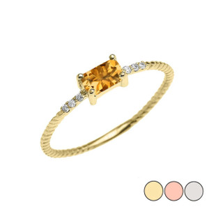 Dainty Solitaire Emerald Cut Citrine and Diamond Rope Design Engagement/Promise Ring in Gold (Yellow/Rose/White)