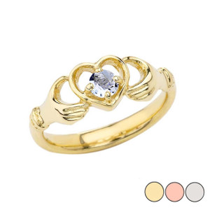 .20 CT Aquamarine Classic Claddagh Ring in Gold (Yellow/Rose/White)