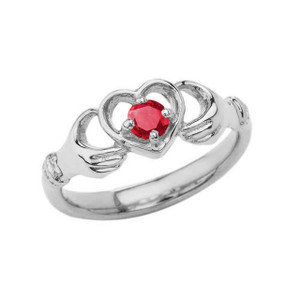 .20 CT Ruby Classic Claddagh Ring in Gold (Yellow/Rose/White)