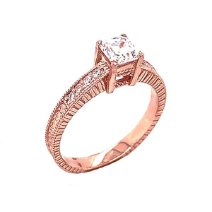 Art Deco Diamond Engagement/Wedding Ring with 1ct Fancy Asscher Cut CZ Center Stone in Gold (Yellow/Rose/White)